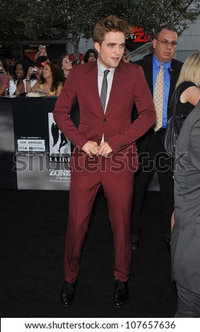 """LOS ANGELES, CA - JUNE 24, 2010: Robert Pattinson at the premiere of his new movie """"The Twilight Saga: Eclipse"""" at the Nokia Theatre at L.A. Live. - stock photo"""