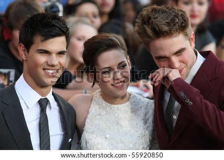 LOS ANGELES, CA. - JUNE 24: Robert Pattinson (R) Kristen Stewart (M) & Taylor Lautner (L) attend The Twilight Saga Eclipse  Los Angeles premiere on June 24th, 2010 at The Nokia Theater in Los Angeles. - stock photo