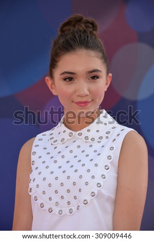 """LOS ANGELES, CA - JUNE 9, 2015: Rowan Blanchard at the Los Angeles premiere of Disney-Pixar's """"Inside Out"""" at the El Capitan Theatre, Hollywood.  - stock photo"""