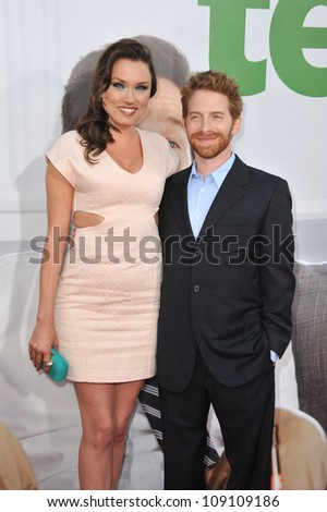 "LOS ANGELES, CA - JUNE 22, 2012: Seth Green & Clare Grant at the world premiere of ""Ted"" at Grauman's Chinese Theatre, Hollywood."