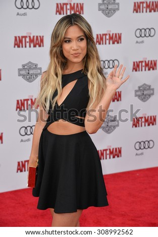 "LOS ANGELES, CA - JUNE 29, 2015: Singer Jessi Malay at the world premiere of ""Ant-Man"" at the Dolby Theatre, Hollywood.  - stock photo"