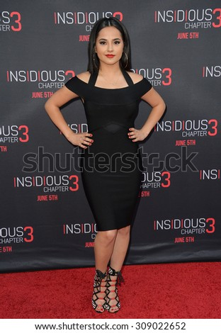 LOS ANGELES, CA - JUNE 5, 2015: Singer Rebbeca Marie Gomez, aka Becky G, at the world premiere of Insidious Chapter 3 at the TCL Chinese Theatre, Hollywood.  - stock photo