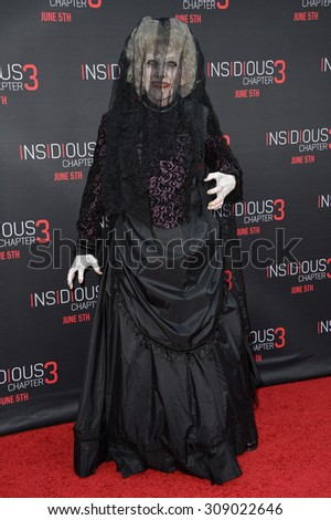 LOS ANGELES, CA - JUNE 5, 2015: The Black Bride at the world premiere of her movie Insidious Chapter 3 at the TCL Chinese Theatre, Hollywood.  - stock photo