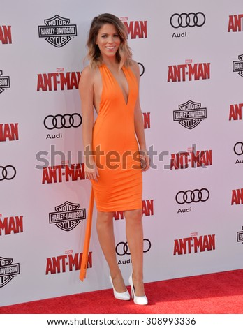 """LOS ANGELES, CA - JUNE 29, 2015: TV presenter Stephanie Bauer at the world premiere of """"Ant-Man"""" at the Dolby Theatre, Hollywood.  - stock photo"""