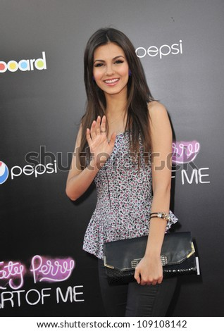 """LOS ANGELES, CA - JUNE 27, 2012: Victoria Justice at the Los Angeles premiere of """"Katy Perry: Part of Me"""" at Grauman's Chinese Theatre, Hollywood. - stock photo"""