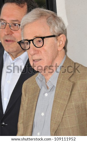 "LOS ANGELES, CA - JUNE 15, 2012: Woody Allen at the LA Film Festival premiere of his movie ""To Rome With Love"" at the Regal Cinemas LA Live. - stock photo"