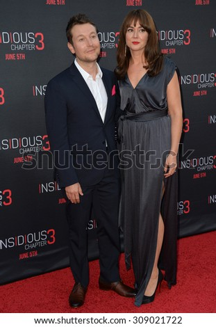 LOS ANGELES, CA - JUNE 5, 2015: Writer/director Leigh Whannell & actress wife Corbett Tuck at the world premiere of his movie Insidious Chapter 3 at the TCL Chinese Theatre, Hollywood.  - stock photo