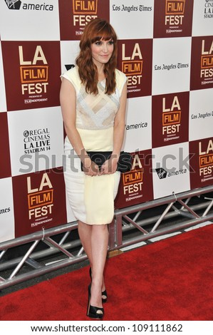 "LOS ANGELES, CA - JUNE 19, 2012: Writer/director Lorene Scafaria at the world premiere of her movie ""Seeking a Friend for the End of the World"" at Regal Cinemas LA Live."