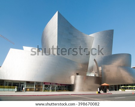 Los Angeles CA March 30, 2016 A beautiful Los Angeles landmark in the heart of downtown Los Angeles the futuristic Walt Disney Concert Hall - stock photo