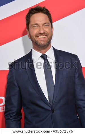 "LOS ANGELES, CA - MARCH 1, 2016: Actor Gerard Butler at the Los Angeles premiere of ""London Has Fallen"" at the Cinerama Dome, Hollywood."