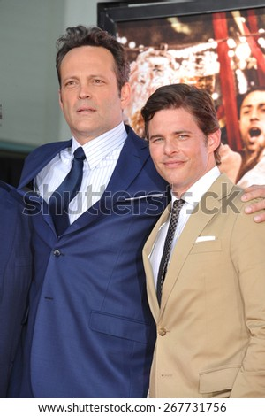 LOS ANGELES, CA - MARCH 4, 2015: Actor Vince Vaughn with James Marsden (right) at the TCL Chinese Theatre, Hollywood, where he had his hand and footprints set in cement.  - stock photo