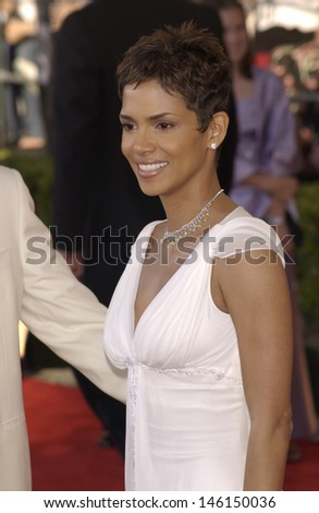 LOS ANGELES, CA - MARCH 10, 2002: Actress HALLE BERRY at the 8th Annual Screen Actors Guild Awards in Los Angeles.  - stock photo