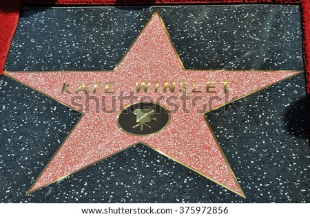 LOS ANGELES, CA - MARCH 17, 2014: Actress Kate Winslet is honored with the 2,520th star on the Hollywood Walk of Fame.