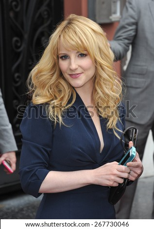 LOS ANGELES, CA - MARCH 11, 2015: Actress Melissa Rauch on Hollywood Blvd where Jim Parsons is honored with the 2,545th star on the Hollywood Walk of Fame.  - stock photo