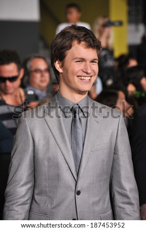 "LOS ANGELES, CA - MARCH 18, 2014: Ansel Elgort at the Los Angeles premiere of his movie ""Divergent"" at the Regency Bruin Theatre, Westwood."