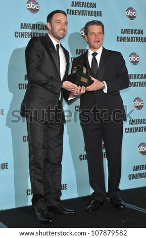 LOS ANGELES, CA - MARCH 27, 2010: Ben Affleck (left) & Matt Damon at the 24th Annual American Cinematheque Award Gala, where Damon was honored, at the Beverly Hilton Hotel.