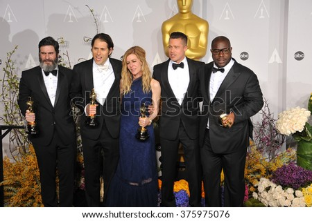 LOS ANGELES, CA - MARCH 2, 2014: Brad Pitt & Steve McQueen & Dede Gardner & Jeremy Kleiner & Anthony Katagas at the 86th Annual Academy Awards at the Dolby Theatre, Hollywood.