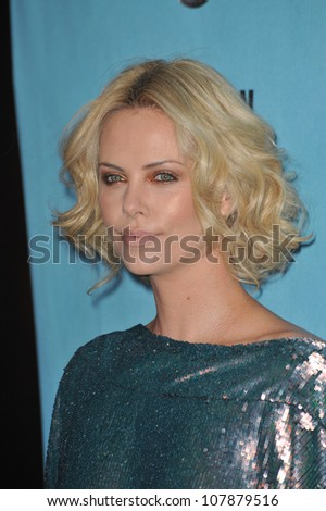 LOS ANGELES, CA - MARCH 27, 2010: Charlize Theron at the 24th Annual American Cinematheque Award Gala, where Matt Damon was honored, at the Beverly Hilton Hotel. - stock photo