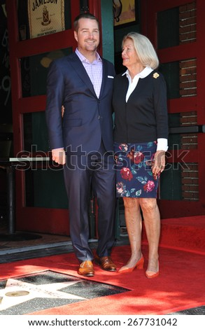 LOS ANGELES, CA - MARCH 5, 2015: Chris O'Donnell & mother Julie Ann O'Donnell on Hollywood Boulevard where he was honored with the 2,544th star on the Walk of Fame.  - stock photo
