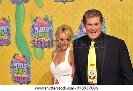 LOS ANGELES, CA - MARCH 29, 2014: David Hasselhoff & Hayley Roberts at Nickelodeon's 27th Annual Kids' Choice Awards at the Galen Centre, Los Angeles.  - stock photo