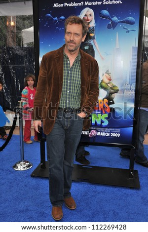 "LOS ANGELES, CA - MARCH 22, 2009: Hugh Laurie at the Los Angeles premiere of his new movie ""Monsters vs. Aliens"" at the Gibson Amphitheatre, Universal Studios"