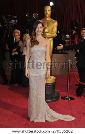 LOS ANGELES, CA - MARCH 2, 2014: Jessica Biel at the 86th Annual Academy Awards at the Hollywood & Highland Theatre, Hollywood.  - stock photo