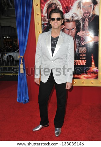 """LOS ANGELES, CA - MARCH 11, 2013: Jim Carrey at the world premiere of his movie """"The Incredible Burt Wonderstone"""" at the Chinese Theatre, Hollywood. - stock photo"""