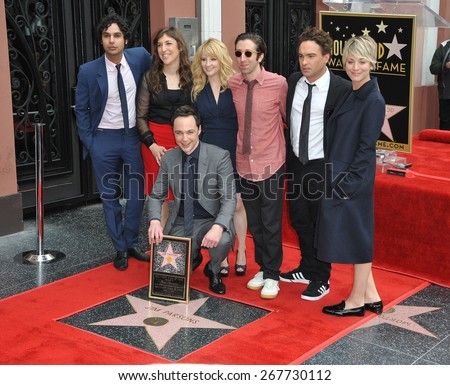 LOS ANGELES, CA - MARCH 11, 2015: Jim Parsons & Kunal Nayyar (left), Mayim Bialik, Melissa Rauch, Simon Helberg, Johnny Galecki & Kaley Cuoco-Sweeting at Parsons' Walk of Fame ceremony.  - stock photo