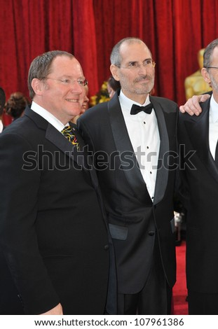 LOS ANGELES, CA - MARCH 7, 2010: John Lasseter & Steve Jobs at the 82nd Annual Academy Awards at the Kodak Theatre, Hollywood. - stock photo