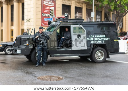 LOS ANGELES,CA - MARCH 02: Los Angeles police departament rescue truck parked on the street during Academy Awards on march 02, 2014 in Los Angeles, CA. - stock photo
