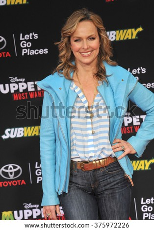 "LOS ANGELES, CA - MARCH 11, 2014: Melora Hardin at the world premiere of Disney's ""Muppets Most Wanted"" at the El Capitan Theatre, Hollywood."