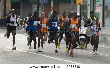 LOS ANGELES, CA - MARCH 22: Men's leading pack at 2010 LA marathon including winner Wesley Korir on March 22, 2010 in Los Angeles, California . - stock photo