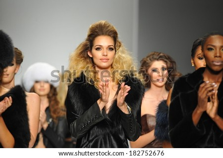 Los Angeles, CA - MARCH 13: Models walk the runway finale at Hallie Sara fashion show during Style Fashion Week Fall 2014 at The LA Live Event Deck on March 13, 2014 in LA.  - stock photo