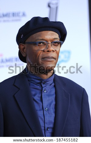 """LOS ANGELES, CA - MARCH 13, 2014: Samuel L. Jackson at the world premiere of his movie """"Captain America: The Winter Soldier"""" at the El Capitan Theatre, Hollywood.  - stock photo"""