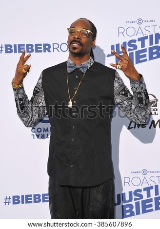 LOS ANGELES, CA - MARCH 14, 2015: Snoop Dogg at the Comedy Central Roast of Justin Bieber at Sony Studios, Culver City. - stock photo