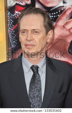 """LOS ANGELES, CA - MARCH 11, 2013: Steve Buscemi at the world premiere of his movie """"The Incredible Burt Wonderstone"""" at the Chinese Theatre, Hollywood. - stock photo"""