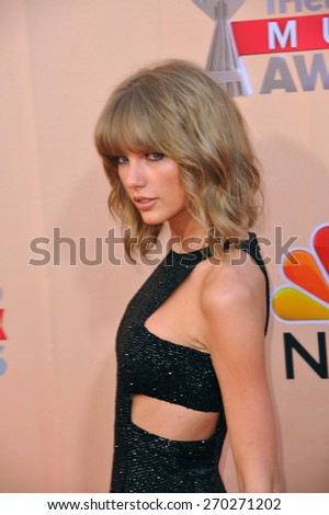 LOS ANGELES, CA - MARCH 29, 2015: Taylor Swift at the 2015 iHeart Radio Music Awards at the Shrine Auditorium.  - stock photo