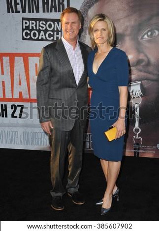 "LOS ANGELES, CA - MARCH 25, 2015: Will Ferrell & wife Viveca Paulin at the Los Angeles premiere of his movie ""Get Hard"" at the TCL Chinese Theatre, Hollywood. - stock photo"