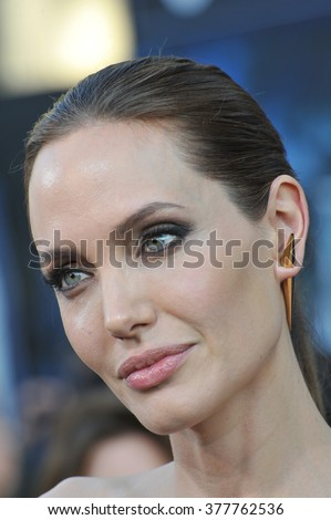 "LOS ANGELES, CA - MAY 29, 2014: Angelina Jolie at the world premiere of her movie ""Maleficent"" at the El Capitan Theatre, Hollywood. - stock photo"