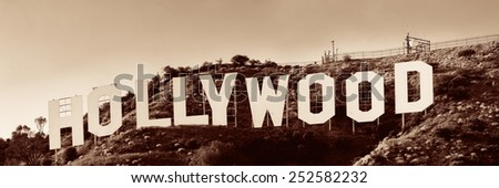 Los Angeles, CA - MAY 18: Hollywood sign on mountain on May 18, 2014 in Los Angeles. Originated as a real estate promotion, it is now the famous landmark of LA and US. - stock photo