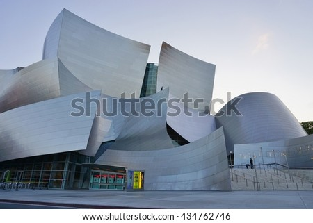 LOS ANGELES, CA -25 MAY 2016- Opened in 2003, the Walt Disney Concert Hall, home of the Los Angeles Philarmonic, was designed by architect Frank Gehry.      - stock photo