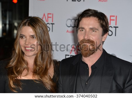 "LOS ANGELES, CA - NOVEMBER 12, 2015: Actor Christian Bale & wife Sibi Blazic at the world premiere of ""The Big Short"", part of the AFI FEST 2015 at the TCL Chinese Theatre, Hollywood.   - stock photo"