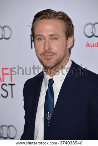 """LOS ANGELES, CA - NOVEMBER 12, 2015: Actor Ryan Gosling at the world premiere of """"The Big Short"""", the closing night gala screening of the AFI FEST 2015 at the TCL Chinese Theatre, Hollywood.   - stock photo"""