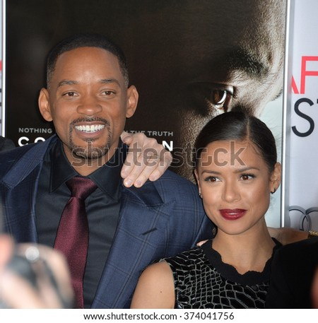 "LOS ANGELES, CA - NOVEMBER 10, 2015: Actors Will Smith & Gugu Mbatha-Raw at the premiere of their movie ""Concussion"", part of the AFI FEST 2015, at the TCL Chinese Theatre, Hollywood.