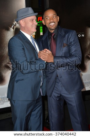 "LOS ANGELES, CA - NOVEMBER 10, 2015: Actors Will Smith (right) & Mike O'Malley at the premiere of their movie ""Concussion"", part of the AFI FEST 2015, at the TCL Chinese Theatre, Hollywood.
