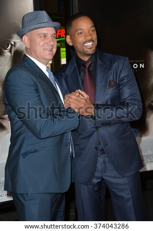 """LOS ANGELES, CA - NOVEMBER 10, 2015: Actors Will Smith (right) & Mike O'Malley at the premiere of their movie """"Concussion"""", part of the AFI FEST 2015, at the TCL Chinese Theatre, Hollywood. - stock photo"""