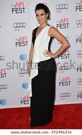 "LOS ANGELES, CA - NOVEMBER 9, 2015: Actress Cote de Pablo at the premiere of her movie ""The 33"", part of the AFI FEST 2015, at the TCL Chinese Theatre"