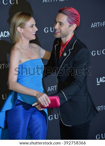 LOS ANGELES, CA - NOVEMBER 7, 2015: Actress Diane Kruger & actor Jared Leto at the 2015 LACMA Art+Film Gala at the Los Angeles County Museum of Art - stock photo