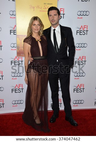 """LOS ANGELES, CA - NOVEMBER 5, 2015: Actress Melanie Laurent & actor Melvil Poupaud at the AFI Festival premiere of their movie """"By the Sea"""" at the TCL Chinese Theatre, Hollywood. - stock photo"""