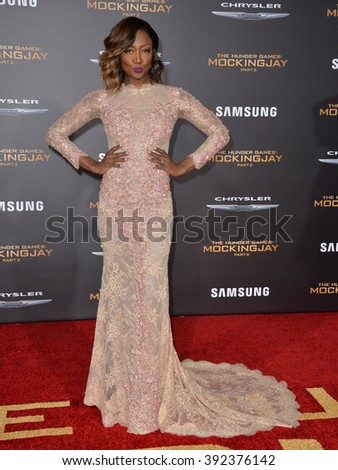"LOS ANGELES, CA - NOVEMBER 16, 2015: Actress Patina Miller at the premiere of ""The Hunger Games: Mockingjay - Part 2"""
